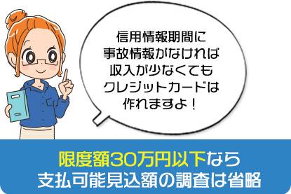 限度額30万円以下なら支払可能見込額の調査は省略されます。