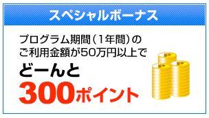 年間50万円以上で300ポイントゲット!