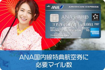 ANA国内線特典航空券の必要マイル数