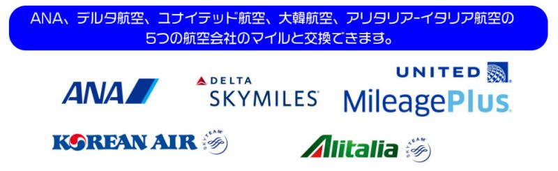 ANA、デルタ航空、ユナイテッド航空、大韓航空、アリタリア-イタリア航空の5つの航空会社のマイルと交換